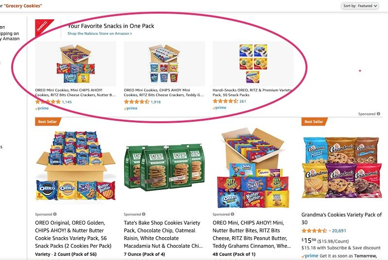 Grocery cookies category sponsored brand ad
