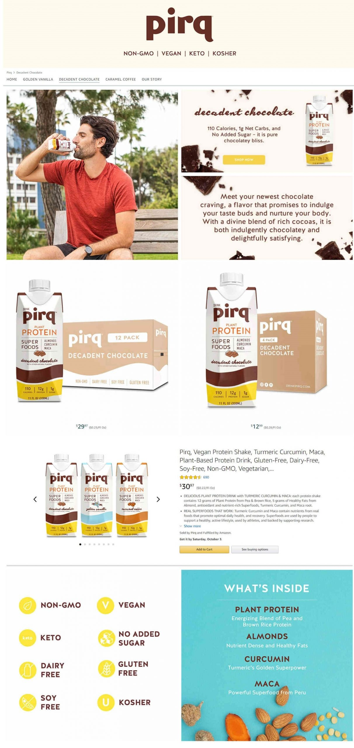 Amazon Storefront Example of Pirq's Decadent Chocolate Product Page