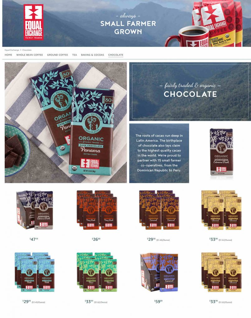 Amazon Storefront Example of Equal Exchange's Chocolate Product Page
