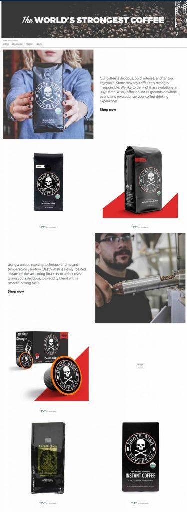 Amazon Storefront Example of Death Wish Coffee