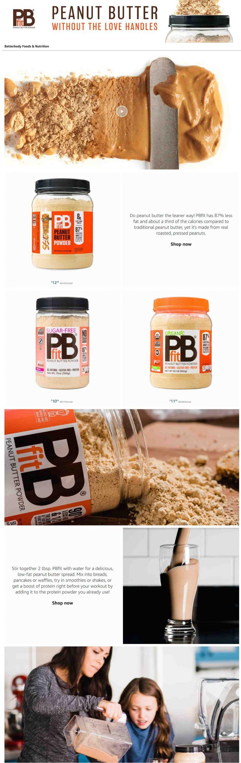 Amazon Storefront Example of PBfit