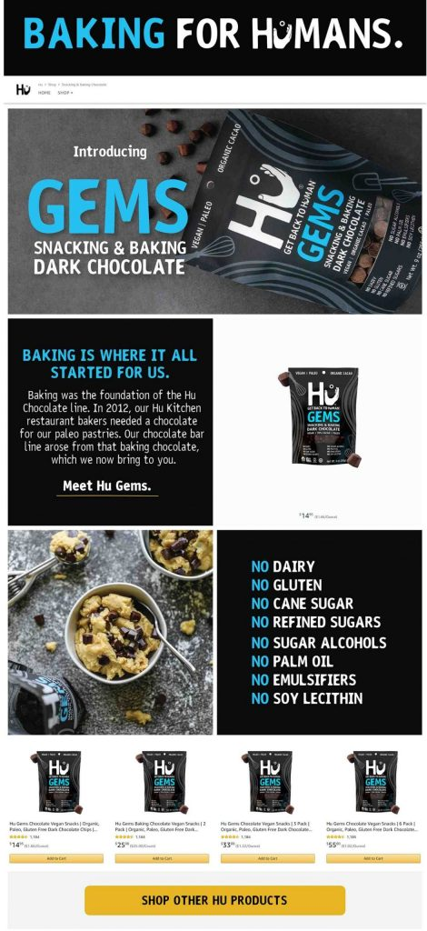 Amazon Storefront Example of Hu's snacking and backing Product Page