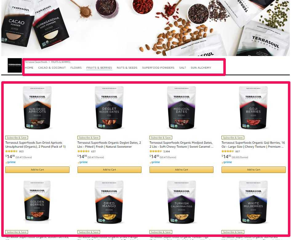 The image shows the Amazon Storefront Catalog Page for Terrasoul highlighting there fruits & Berries. The top catalog tabs and the listings below are outlined for effect.