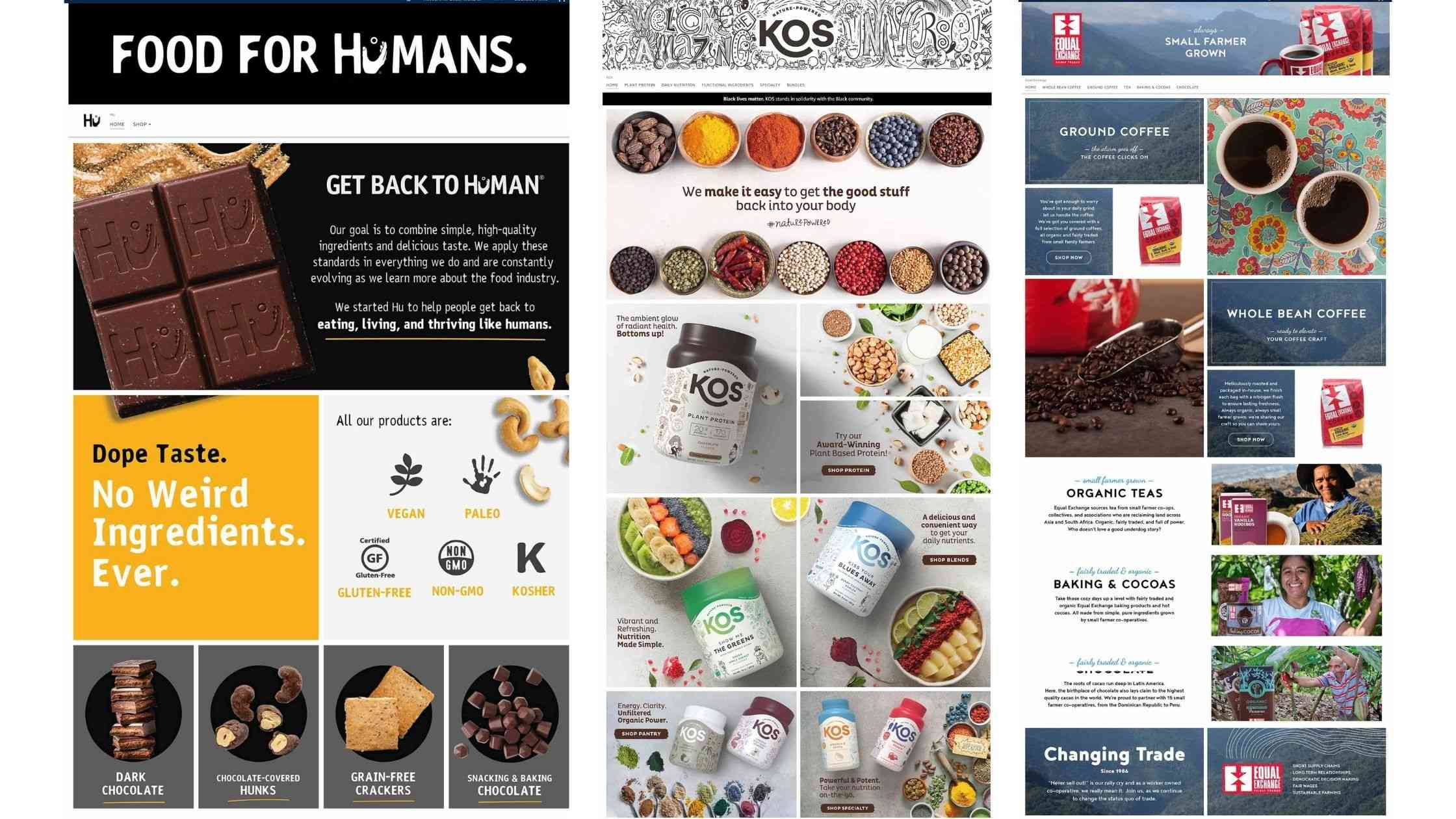 Full width screen capture of 3 Example Amazon Storefronts. Showing Food for Humans, KOS and Equal Exchange.