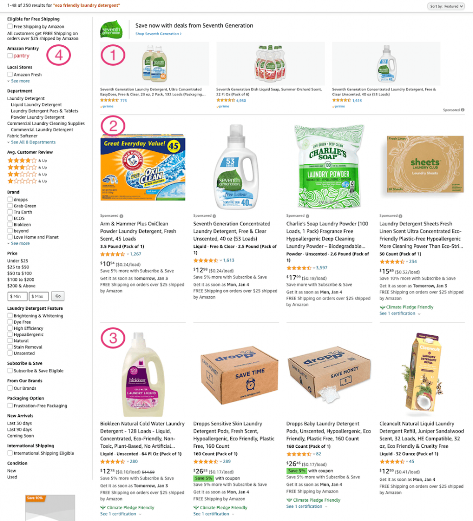 Amazon SERP on Desktop with Sections