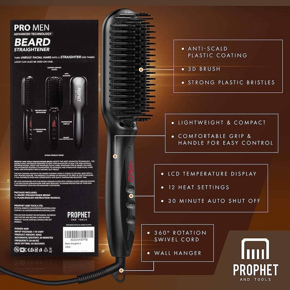 Prophet & Tools beard straightener infographic example