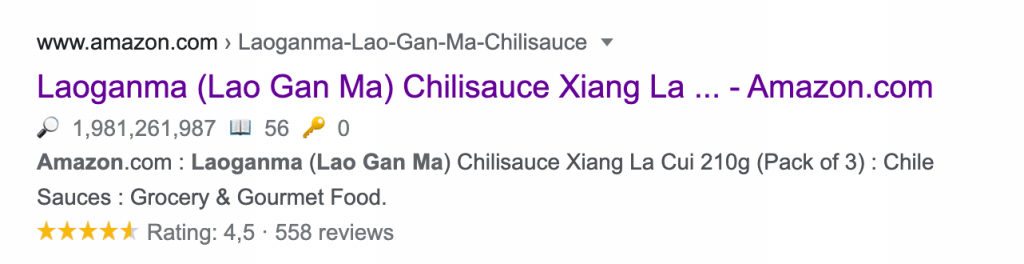 Laoganma crispy chilly product descriptions from the Google SERP